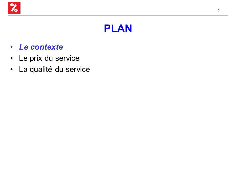 2 PLAN Le contexte Le prix du service La qualité du service