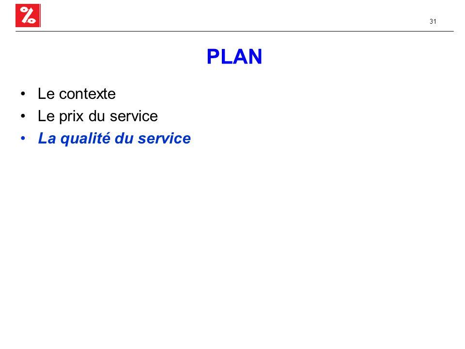 31 PLAN Le contexte Le prix du service La qualité du service