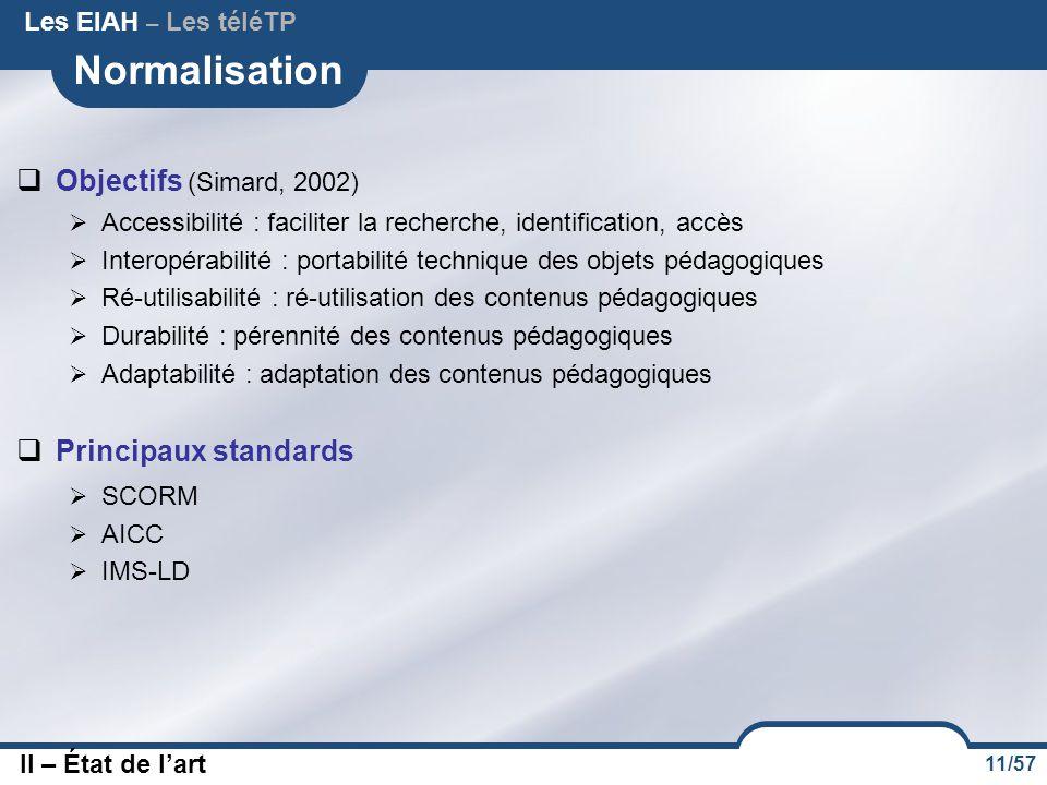 11/57 Normalisation  Objectifs (Simard, 2002)  Accessibilité : faciliter la recherche, identification, accès  Interopérabilité : portabilité techni