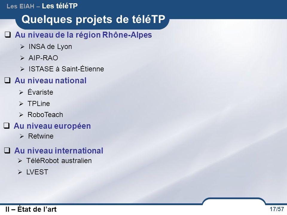 17/57 Quelques projets de téléTP  INSA de Lyon  AIP-RAO  ISTASE à Saint-Étienne  Au niveau de la région Rhône-Alpes  Au niveau national  Évarist