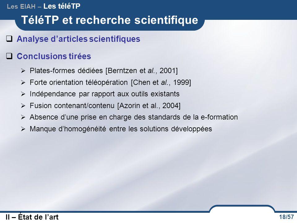18/57 TéléTP et recherche scientifique  Analyse d'articles scientifiques  Conclusions tirées  Plates-formes dédiées [Berntzen et al., 2001]  Forte