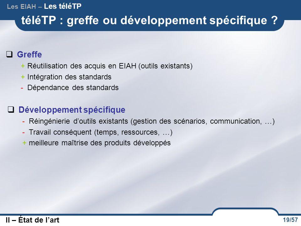 19/57 téléTP : greffe ou développement spécifique ?  Greffe + Réutilisation des acquis en EIAH (outils existants) + Intégration des standards - Dépen