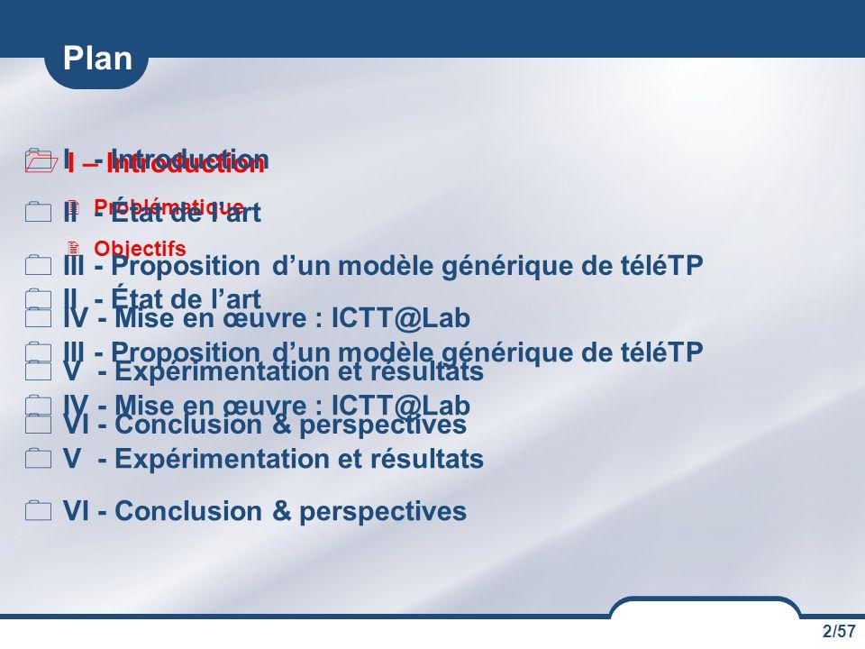 2/57  I – Introduction  Problématique  Objectifs  II - État de l'art  III - Proposition d'un modèle générique de téléTP  IV - Mise en œuvre : ICTT@Lab  V - Expérimentation et résultats  VI - Conclusion & perspectives Plan  I - Introduction  II - État de l'art  III - Proposition d'un modèle générique de téléTP  IV - Mise en œuvre : ICTT@Lab  V - Expérimentation et résultats  VI - Conclusion & perspectives