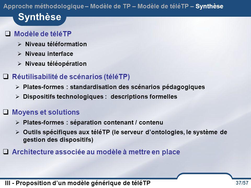 37/57 Synthèse Approche méthodologique – Modèle de TP – Modèle de téléTP – Synthèse  Modèle de téléTP  Niveau téléformation  Niveau interface  Niveau téléopération  Réutilisabilité de scénarios (téléTP)  Plates-formes : standardisation des scénarios pédagogiques  Dispositifs technologiques : descriptions formelles  Architecture associée au modèle à mettre en place  Moyens et solutions  Plates-formes : séparation contenant / contenu  Outils spécifiques aux téléTP (le serveur d'ontologies, le système de gestion des dispositifs) III - Proposition d'un modèle générique de téléTP
