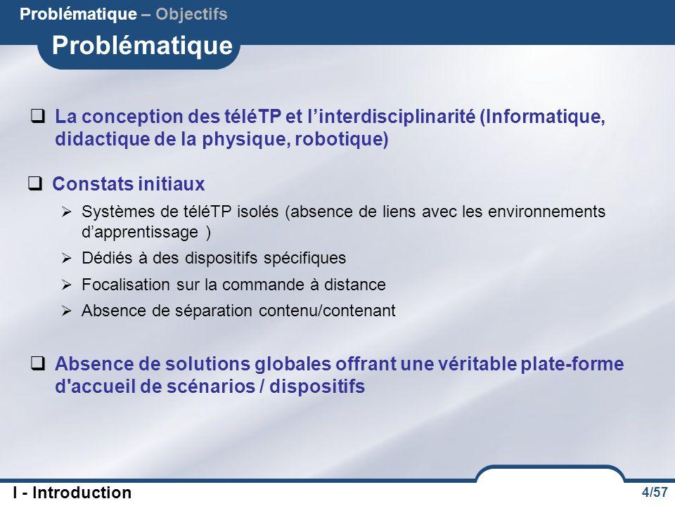 4/57 Problématique  La conception des téléTP et l'interdisciplinarité (Informatique, didactique de la physique, robotique) Problématique – Objectifs
