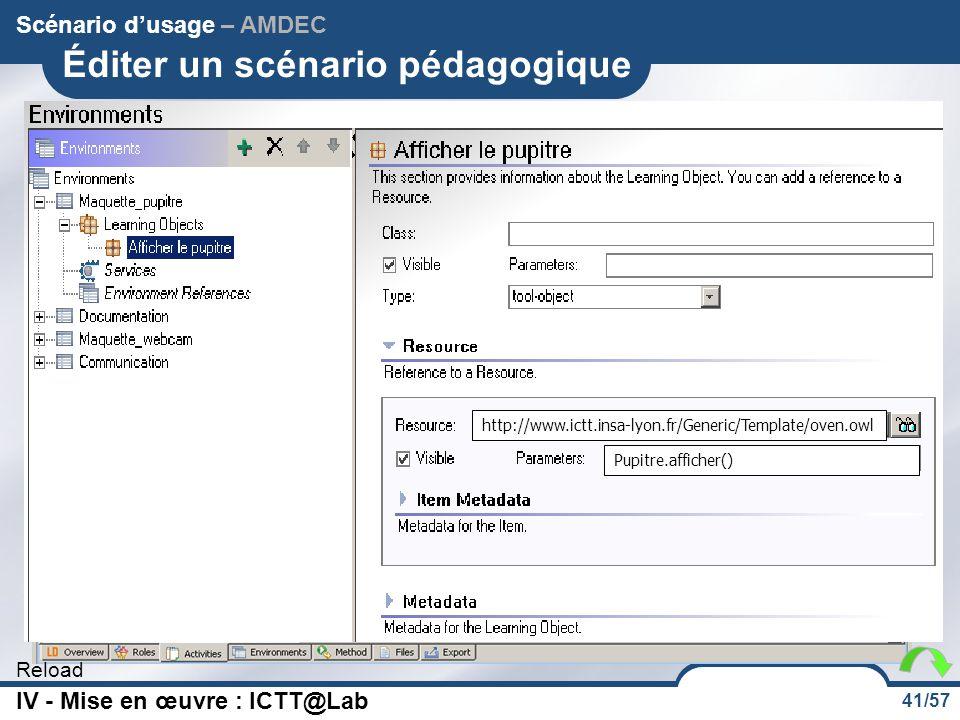 41/57 Reload Éditer un scénario pédagogique Scénario d'usage – AMDEC http://www.ictt.insa-lyon.fr/Generic/Template/oven.owl Pupitre.afficher() IV - Mi