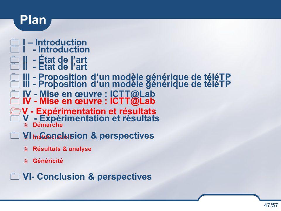 47/57 Plan  I – Introduction  II - État de l'art  III - Proposition d'un modèle générique de téléTP  IV - Mise en œuvre : ICTT@Lab  V - Expérimen