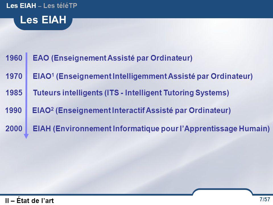 7/57 Les EIAH 1960 EAO (Enseignement Assisté par Ordinateur) II – État de l'art Les EIAH – Les téléTP 1970 EIAO 1 (Enseignement Intelligemment Assisté par Ordinateur) 1985Tuteurs intelligents (ITS - Intelligent Tutoring Systems) 2000 EIAH (Environnement Informatique pour l'Apprentissage Humain) 1990 EIAO 2 (Enseignement Interactif Assisté par Ordinateur)