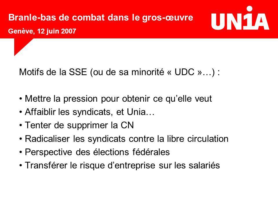 Motifs de la SSE (ou de sa minorité « UDC »…) : Mettre la pression pour obtenir ce qu'elle veut Affaiblir les syndicats, et Unia… Tenter de supprimer