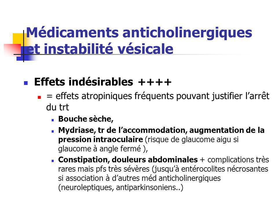 Médicaments anticholinergiques et instabilité vésicale Effets indésirables ++++ = effets atropiniques fréquents pouvant justifier l'arrêt du trt Bouch