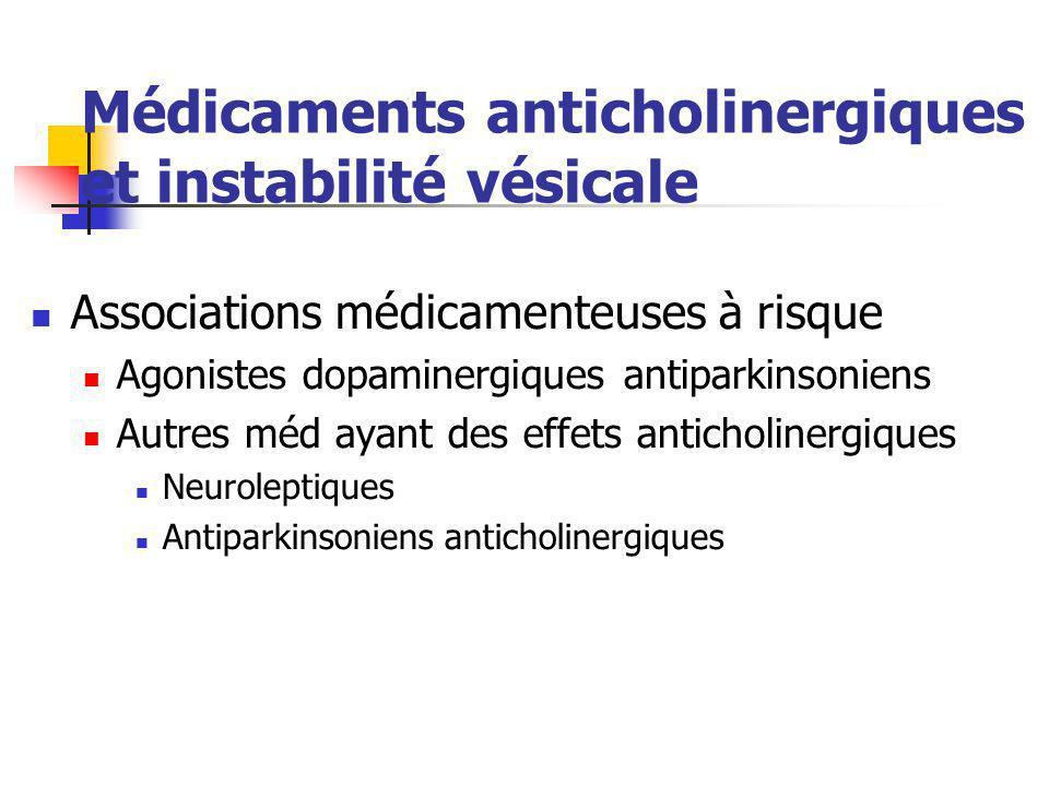 Médicaments anticholinergiques et instabilité vésicale Associations médicamenteuses à risque Agonistes dopaminergiques antiparkinsoniens Autres méd ay