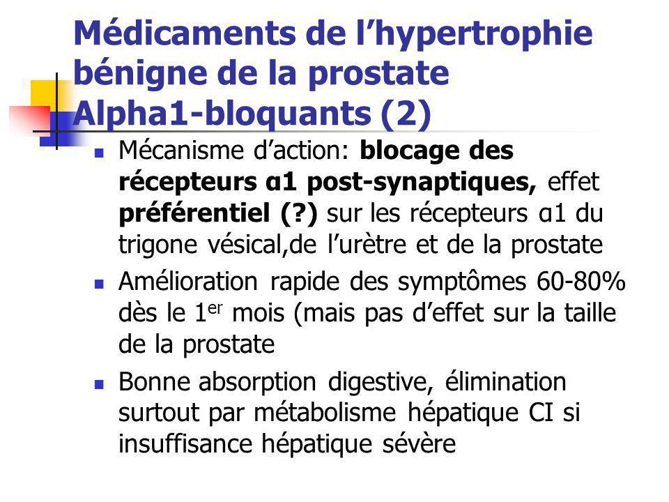 Médicaments de l'hypertrophie bénigne de la prostate Alpha1-bloquants (2) Mécanisme d'action: blocage des récepteurs α1 post-synaptiques, effet préfér