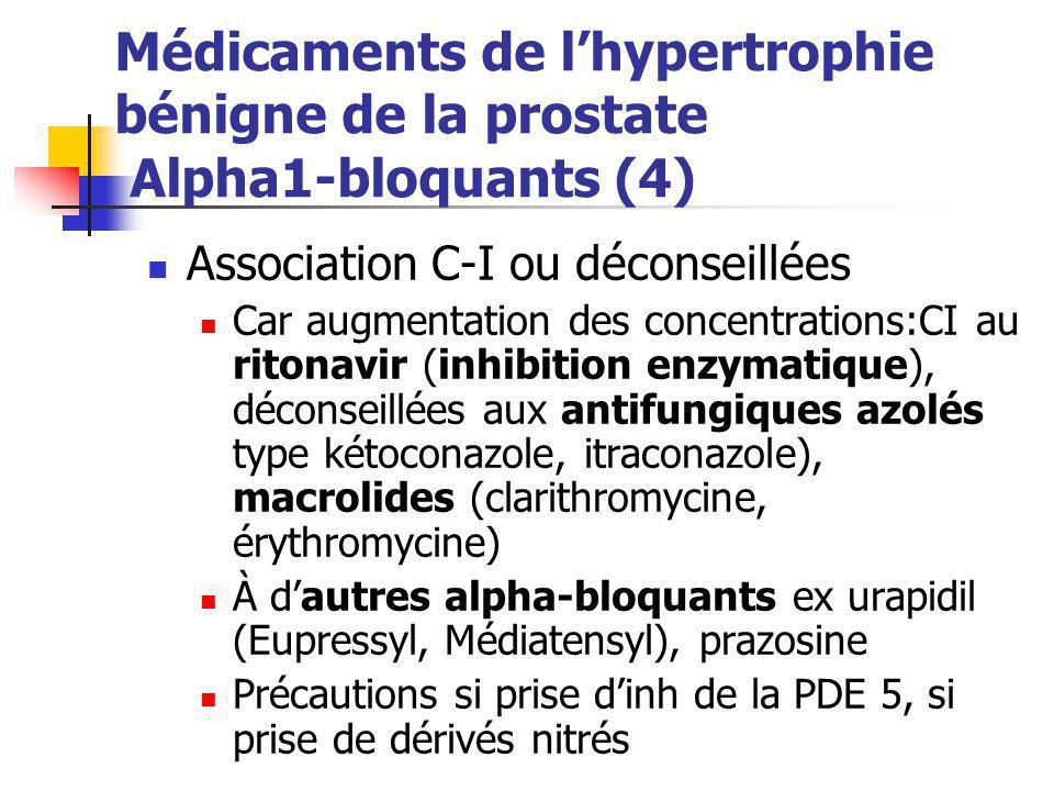 Médicaments de l'hypertrophie bénigne de la prostate Alpha1-bloquants (4) Association C-I ou déconseillées Car augmentation des concentrations:CI au r
