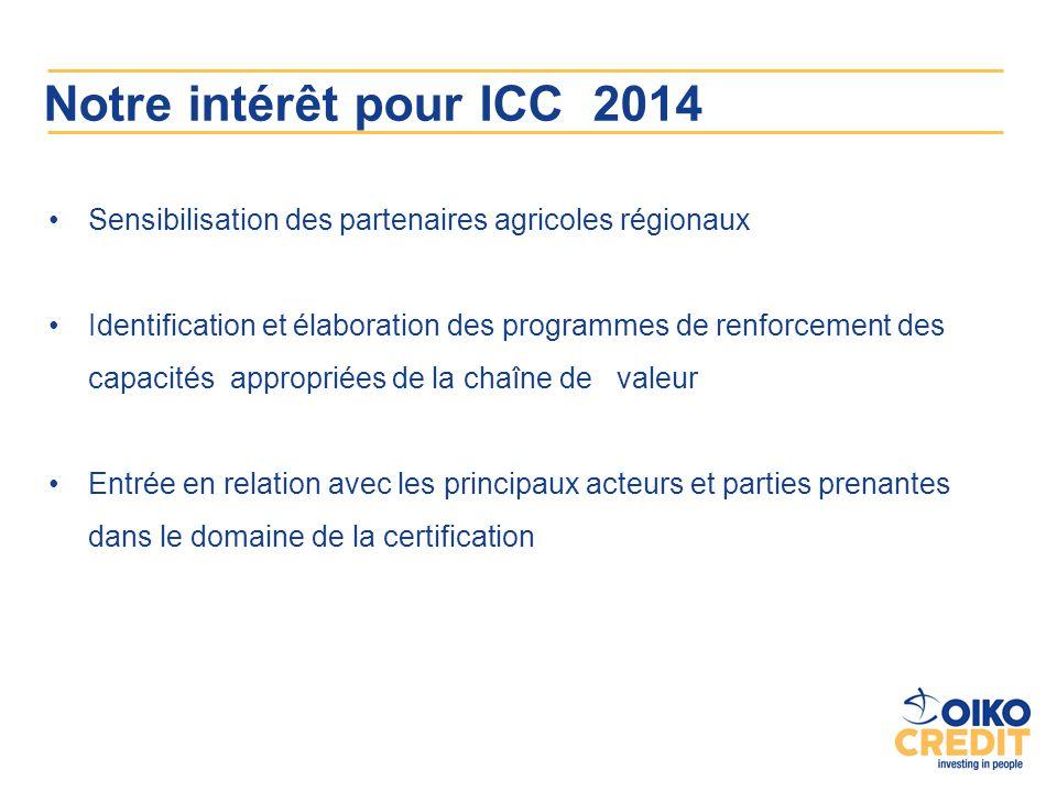 Notre intérêt pour ICC 2014 Sensibilisation des partenaires agricoles régionaux Identification et élaboration des programmes de renforcement des capac