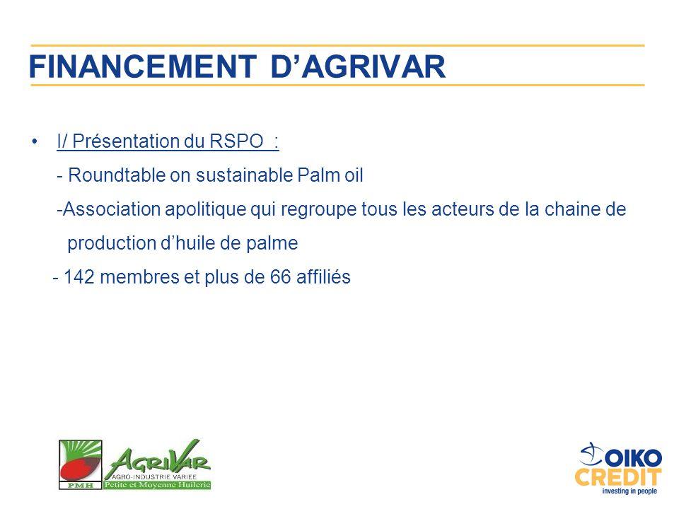 FINANCEMENT D'AGRIVAR I/ Présentation du RSPO : - Roundtable on sustainable Palm oil -Association apolitique qui regroupe tous les acteurs de la chain