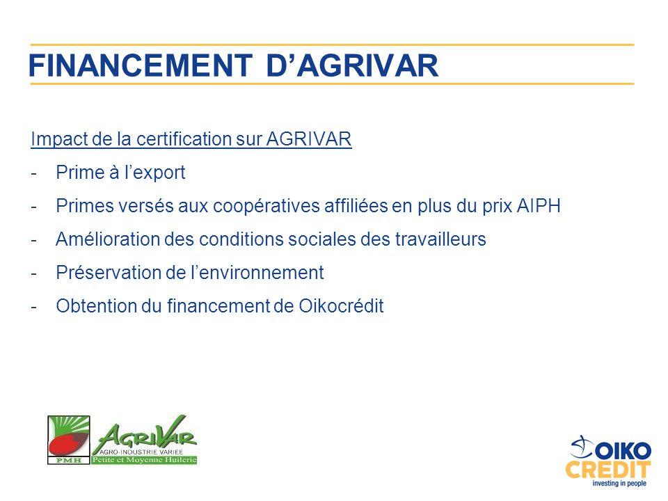 FINANCEMENT D'AGRIVAR Impact de la certification sur AGRIVAR -Prime à l'export -Primes versés aux coopératives affiliées en plus du prix AIPH -Amélior