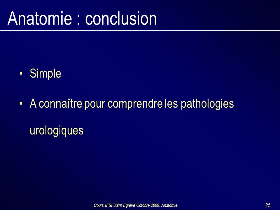 Cours IFSI Saint-Egrève Octobre 2009, Anatomie 25 Anatomie : conclusion Simple A connaître pour comprendre les pathologies urologiques