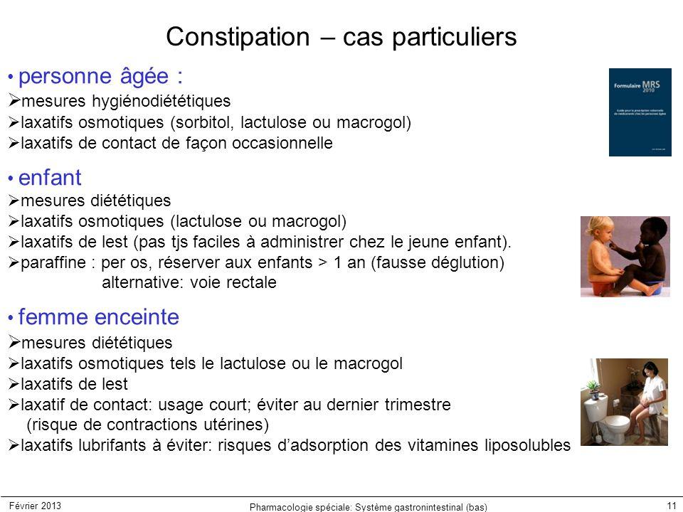 Février 2013 Pharmacologie spéciale: Système gastronintestinal (bas) 11 Constipation – cas particuliers personne âgée :  mesures hygiénodiététiques 
