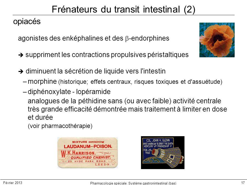 Février 2013 Pharmacologie spéciale: Système gastronintestinal (bas) 17 Frénateurs du transit intestinal (2) opiacés agonistes des enképhalines et des