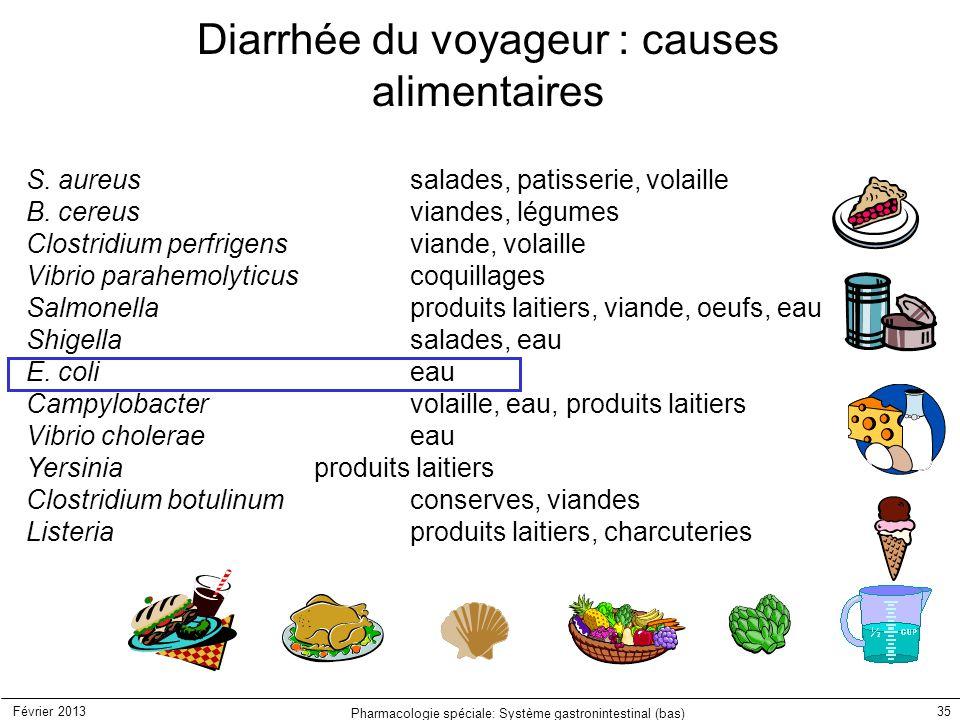 Février 2013 Pharmacologie spéciale: Système gastronintestinal (bas) 35 Diarrhée du voyageur : causes alimentaires S. aureussalades, patisserie, volai
