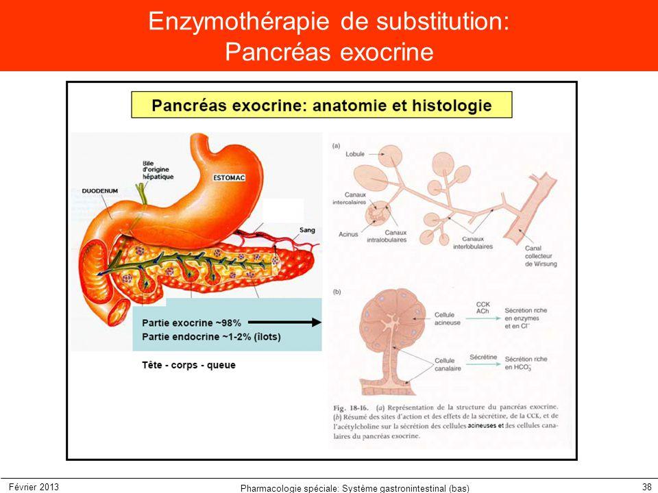 Février 2013 Pharmacologie spéciale: Système gastronintestinal (bas) 38 Enzymothérapie de substitution: Pancréas exocrine