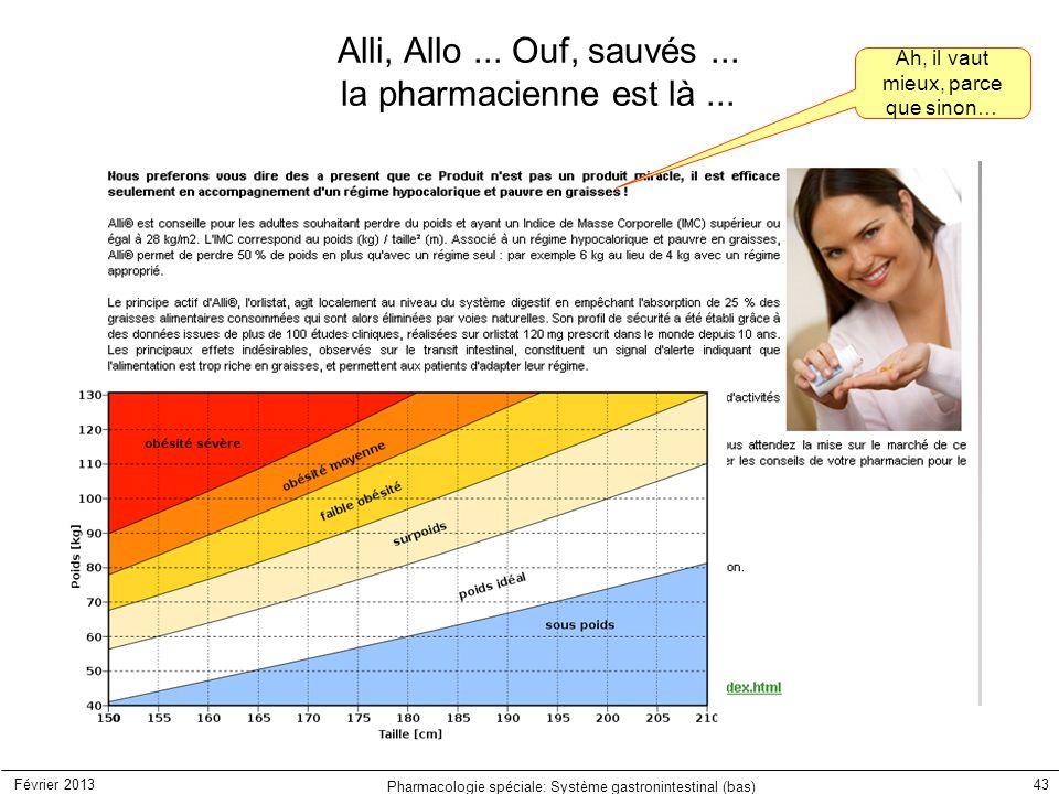 Février 2013 Pharmacologie spéciale: Système gastronintestinal (bas) 43 Alli, Allo... Ouf, sauvés... la pharmacienne est là... Ah, il vaut mieux, parc