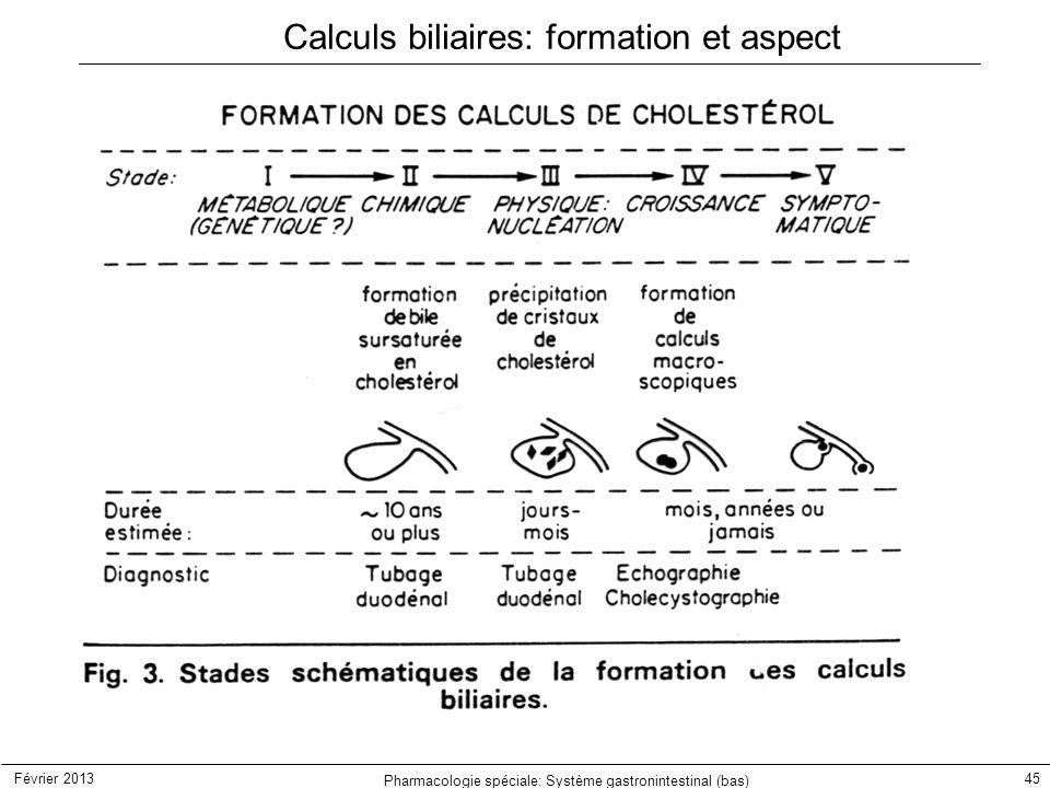 Février 2013 Pharmacologie spéciale: Système gastronintestinal (bas) 45 Calculs biliaires: formation et aspect