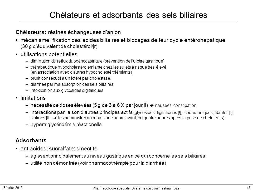 Février 2013 Pharmacologie spéciale: Système gastronintestinal (bas) 46 Chélateurs et adsorbants des sels biliaires Chélateurs: résines échangeuses d'