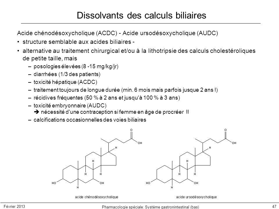 Février 2013 Pharmacologie spéciale: Système gastronintestinal (bas) 47 Dissolvants des calculs biliaires Acide chénodésoxycholique (ACDC) - Acide urs