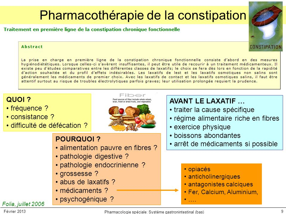 Février 2013 Pharmacologie spéciale: Système gastronintestinal (bas) 9 Pharmacothérapie de la constipation Folia, juillet 2006 QUOI ? fréquence ? cons