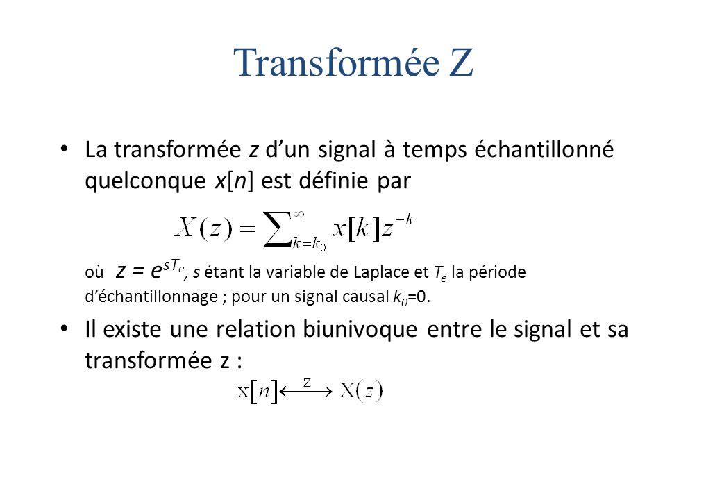 Transformée Z La transformée z d'un signal à temps échantillonné quelconque x[n] est définie par où z = e sT e, s étant la variable de Laplace et T e la période d'échantillonnage ; pour un signal causal k 0 =0.