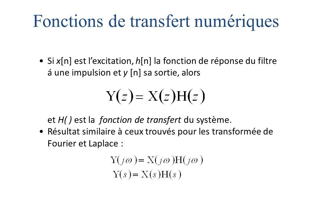 Fonctions de transfert numériques Si x[n] est l'excitation, h[n] la fonction de réponse du filtre á une impulsion et y [n] sa sortie, alors et H( ) est la fonction de transfert du système.