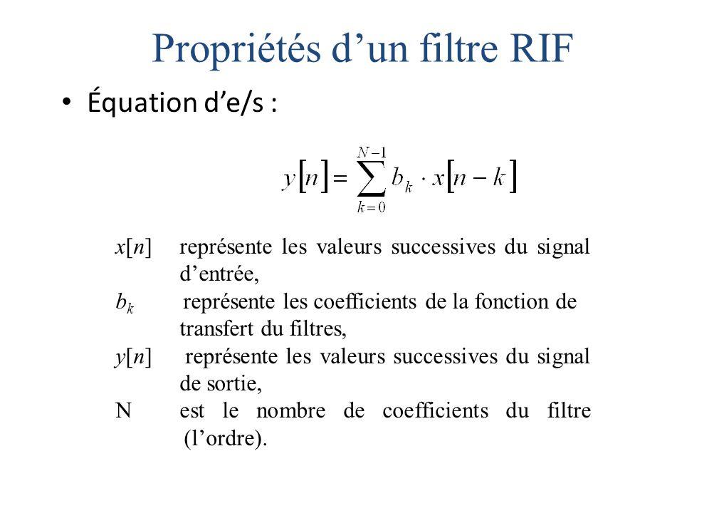 Propriétés d'un filtre RIF Équation d'e/s : x[n] représente les valeurs successives du signal d'entrée, b k représente les coefficients de la fonction de transfert du filtres, y[n] représente les valeurs successives du signal de sortie, N est le nombre de coefficients du filtre (l'ordre).