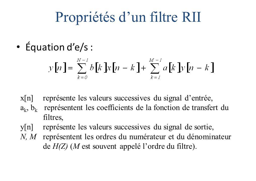 Propriétés d'un filtre RII Équation d'e/s : x[n] représente les valeurs successives du signal d'entrée, a k, b k représentent les coefficients de la fonction de transfert du filtres, y[n] représente les valeurs successives du signal de sortie, N, M représentent les ordres du numérateur et du dénominateur de H(Z) (M est souvent appelé l'ordre du filtre).