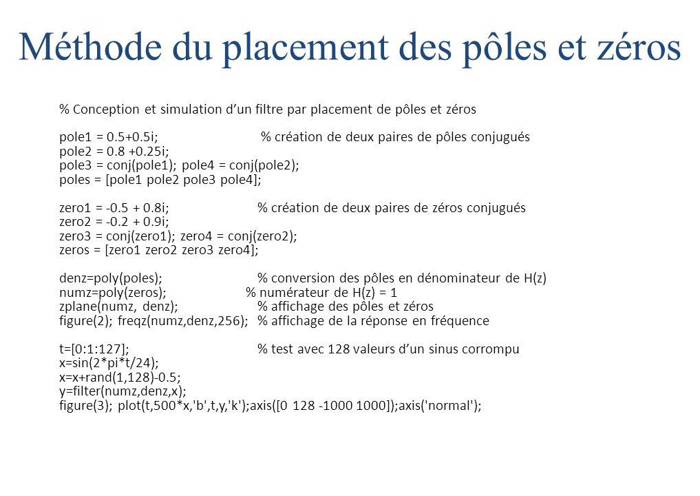 Méthode du placement des pôles et zéros % Conception et simulation d'un filtre par placement de pôles et zéros pole1 = 0.5+0.5i; % création de deux paires de pôles conjugués pole2 = 0.8 +0.25i; pole3 = conj(pole1); pole4 = conj(pole2); poles = [pole1 pole2 pole3 pole4]; zero1 = -0.5 + 0.8i; % création de deux paires de zéros conjugués zero2 = -0.2 + 0.9i; zero3 = conj(zero1); zero4 = conj(zero2); zeros = [zero1 zero2 zero3 zero4]; denz=poly(poles);% conversion des pôles en dénominateur de H(z) numz=poly(zeros); % numérateur de H(z) = 1 zplane(numz, denz); % affichage des pôles et zéros figure(2); freqz(numz,denz,256);% affichage de la réponse en fréquence t=[0:1:127];% test avec 128 valeurs d'un sinus corrompu x=sin(2*pi*t/24); x=x+rand(1,128)-0.5; y=filter(numz,denz,x); figure(3); plot(t,500*x, b ,t,y, k );axis([0 128 -1000 1000]);axis( normal );