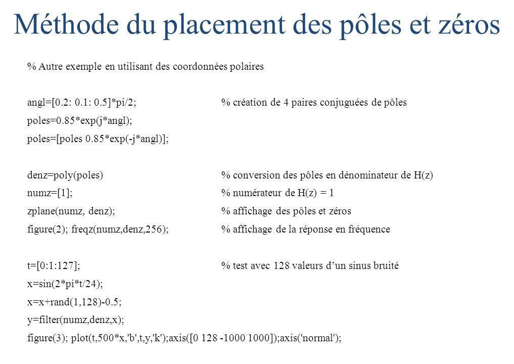 % Autre exemple en utilisant des coordonnées polaires angl=[0.2: 0.1: 0.5]*pi/2; % création de 4 paires conjuguées de pôles poles=0.85*exp(j*angl); poles=[poles 0.85*exp(-j*angl)]; denz=poly(poles) % conversion des pôles en dénominateur de H(z) numz=[1]; % numérateur de H(z) = 1 zplane(numz, denz); % affichage des pôles et zéros figure(2); freqz(numz,denz,256);% affichage de la réponse en fréquence t=[0:1:127];% test avec 128 valeurs d'un sinus bruité x=sin(2*pi*t/24); x=x+rand(1,128)-0.5; y=filter(numz,denz,x); figure(3); plot(t,500*x, b ,t,y, k );axis([0 128 -1000 1000]);axis( normal ); Méthode du placement des pôles et zéros
