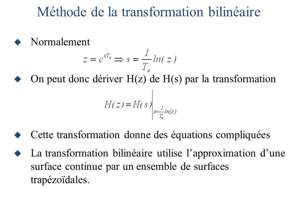  Normalement  On peut donc dériver H(z) de H(s) par la transformation  Cette transformation donne des équations compliquées  La transformation bilinéaire utilise l'approximation d'une surface continue par un ensemble de surfaces trapézoïdales.