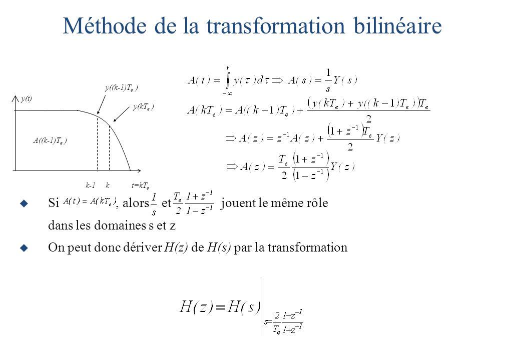  Si, alors et jouent le même rôle dans les domaines s et z  On peut donc dériver H(z) de H(s) par la transformation Méthode de la transformation bilinéaire k-1 k t=kT e y(t) y((k-1)T e ) y(kT e ) A((k-1)T e )
