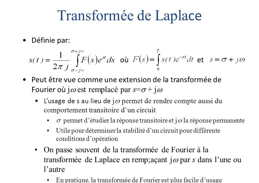 Transformée de Lapla ce Définie par: où et Peut être vue comme une extension de la transformée de Fourier où j  est remplacé par s=  + j  L'usage de s au lieu de j  permet de rendre compte aussi du comportement transitoire d'un circuit  permet d'étudier la réponse transitoire et j  la réponse permanente Utile pour déterminer la stabilité d'un circuit pour différente conditions d'opération On passe souvent de la transformée de Fourier à la transformée de Laplace en remp;açant j  par s dans l'une ou l'autre En pratique, la transformée de Fourier est plus facile d'usage