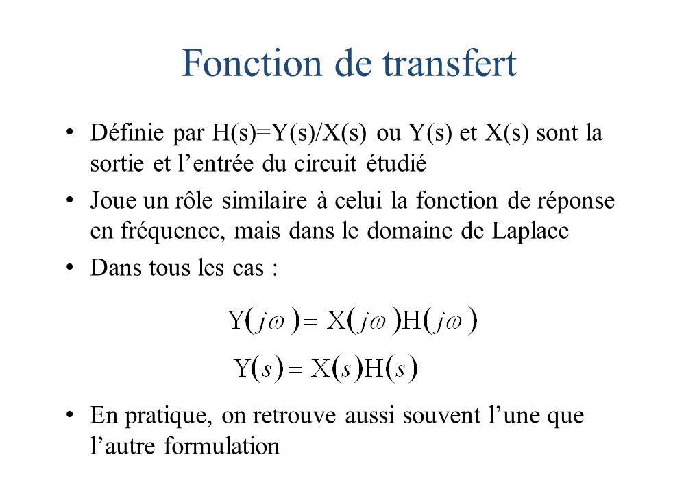 Fonction de transfert Définie par H(s)=Y(s)/X(s) ou Y(s) et X(s) sont la sortie et l'entrée du circuit étudié Joue un rôle similaire à celui la fonction de réponse en fréquence, mais dans le domaine de Laplace Dans tous les cas : En pratique, on retrouve aussi souvent l'une que l'autre formulation
