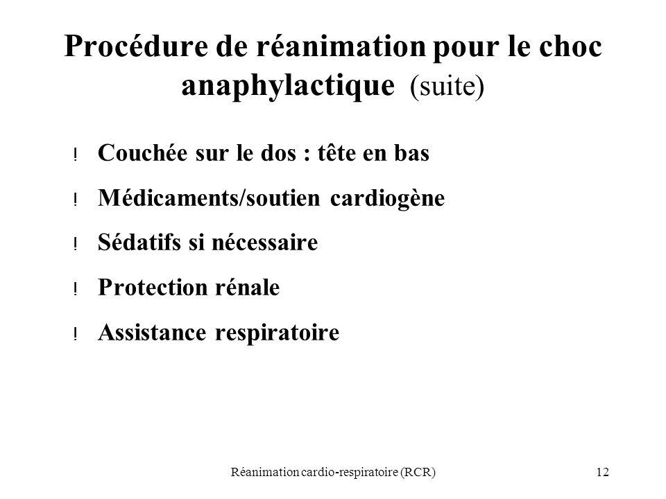 12Réanimation cardio-respiratoire (RCR) Procédure de réanimation pour le choc anaphylactique (suite) ! Couchée sur le dos : tête en bas ! Médicaments/