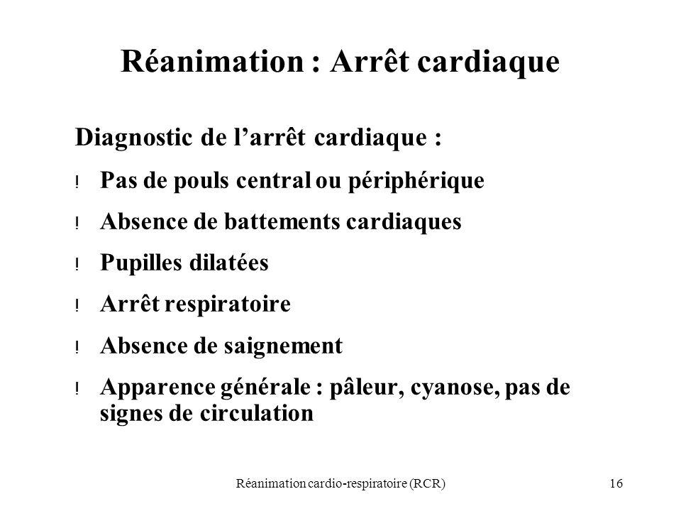 16Réanimation cardio-respiratoire (RCR) Réanimation : Arrêt cardiaque Diagnostic de l'arrêt cardiaque : ! Pas de pouls central ou périphérique ! Absen