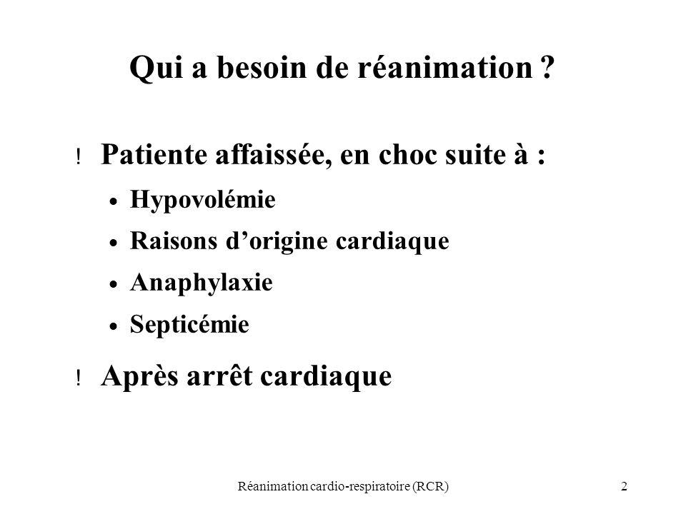 2 Qui a besoin de réanimation ? ! Patiente affaissée, en choc suite à :  Hypovolémie  Raisons d'origine cardiaque  Anaphylaxie  Septicémie ! Après
