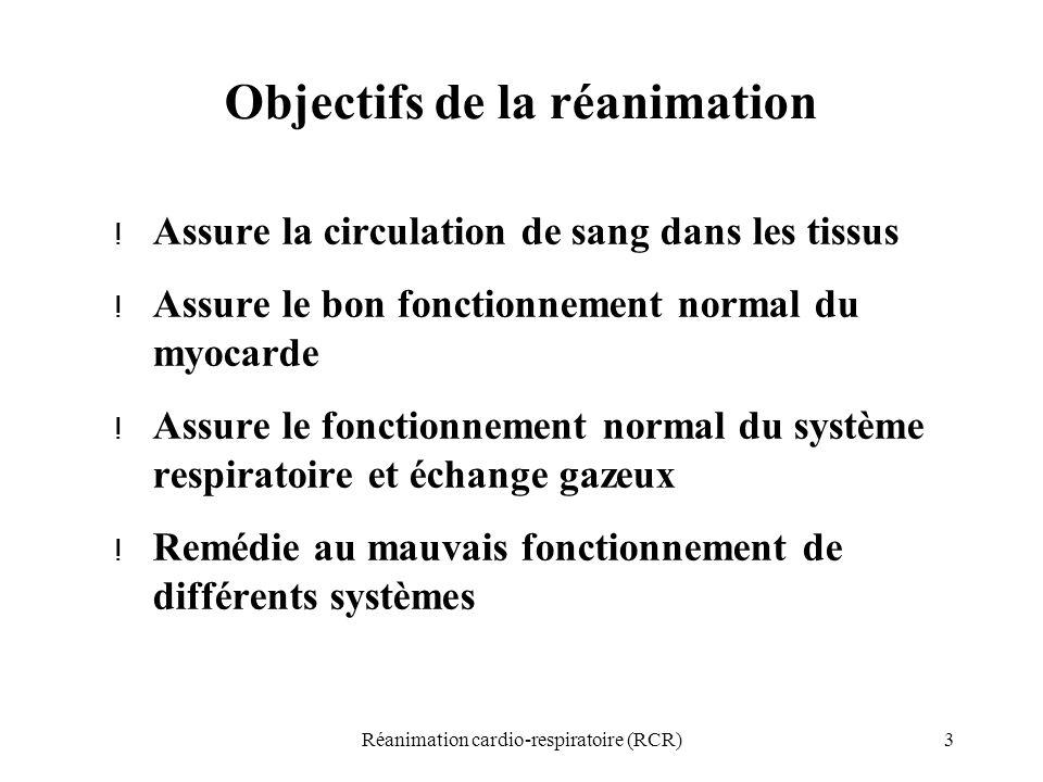 3Réanimation cardio-respiratoire (RCR) Objectifs de la réanimation ! Assure la circulation de sang dans les tissus ! Assure le bon fonctionnement norm