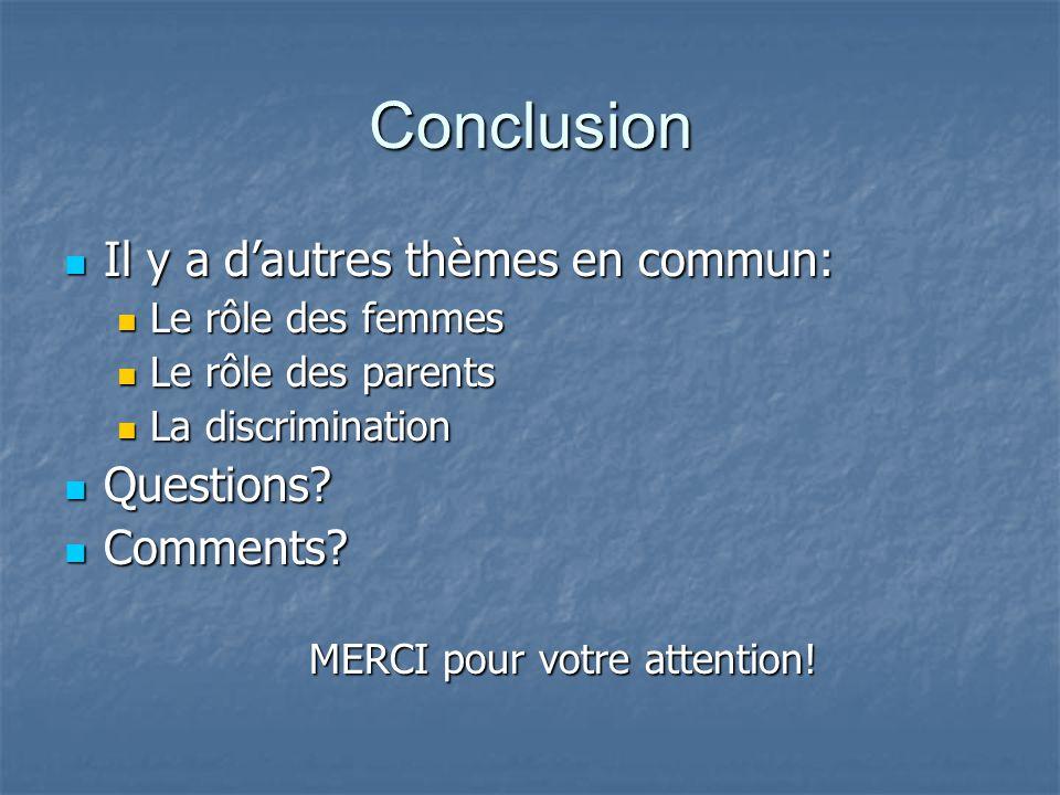 Conclusion Il y a d'autres thèmes en commun: Il y a d'autres thèmes en commun: Le rôle des femmes Le rôle des femmes Le rôle des parents Le rôle des parents La discrimination La discrimination Questions.
