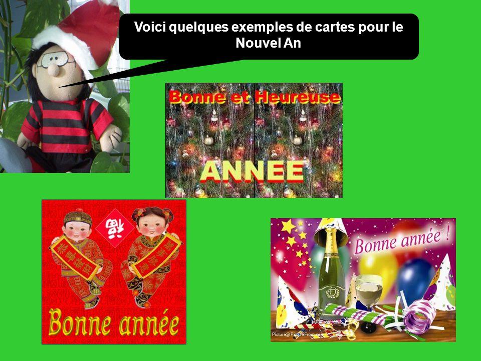 Voici quelques exemples de cartes pour le Nouvel An