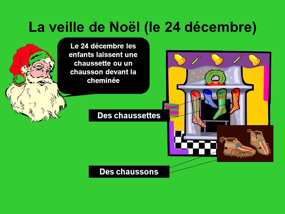 La veille de Noël (le 24 décembre) Le 24 décembre les enfants laissent une chaussette ou un chausson devant la cheminée Des chaussettes Des chaussons