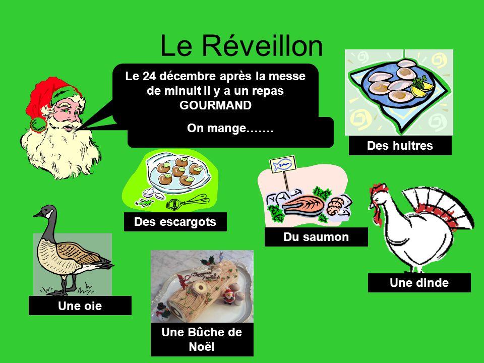 Le Réveillon Le 24 décembre après la messe de minuit il y a un repas GOURMAND On mange……. Des huitres Des escargots Du saumon Une oie Une dinde Une Bû