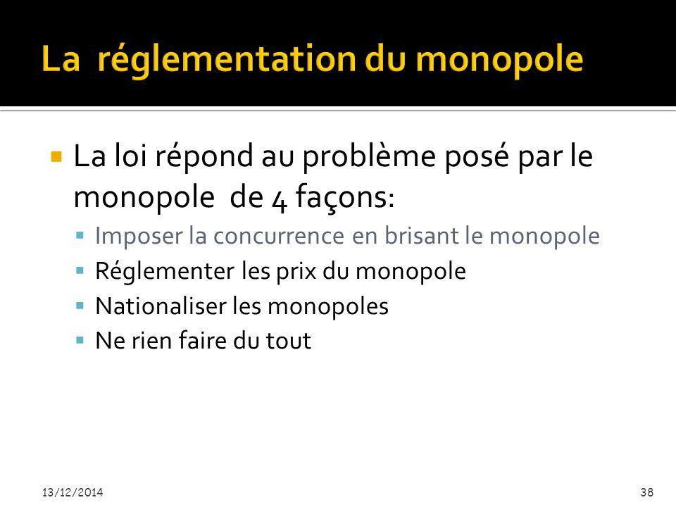  La loi répond au problème posé par le monopole de 4 façons:  Imposer la concurrence en brisant le monopole  Réglementer les prix du monopole  Nationaliser les monopoles  Ne rien faire du tout 13/12/201438