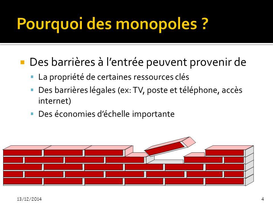  Des barrières à l'entrée peuvent provenir de  La propriété de certaines ressources clés  Des barrières légales (ex: TV, poste et téléphone, accès internet)  Des économies d'échelle importante 13/12/20144
